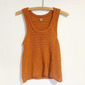 Aerie Burnt Orange Crochet Knit Tank Top Size Medi